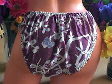 Stunning Flowers on Amethyst 8/XL SISSY Silk String Bikini Brief Panties NWOT