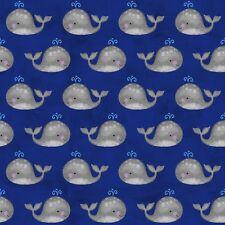Anchors Away Whale Fabric Dark Blue FQ Half Metre or Metres 100% Cotton