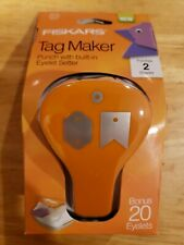 Fiskars Tag Maker Punch with built-in Eyelet Setter and 20 Eyelets Standard NIP