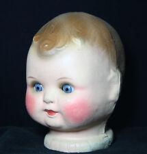 "Antique  Doll Head  Papier -  Mache with sleeping Glass Eyesc, 5.1/2"" - 13.3"