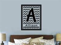 Custom Monogram Letter Name Chevron Vinyl Decal Wall Art Stickers Letters Words
