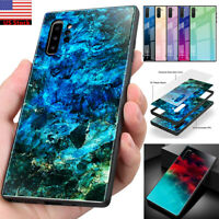 For Samsung Galaxy S10+ Note 10+ Plus 5G Marble Tempered Glass Hard Case Cover
