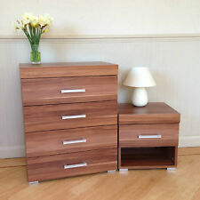 Chest of 4 Drawers & 1 Drawer Bedside Table in Walnut Effect Bedroom Furniture
