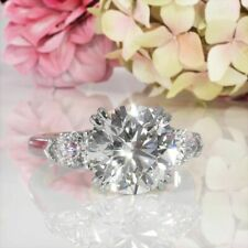 Real Solid 14k White Gold Over 3.00ct Round Moissanite Engagement Wedding Ring
