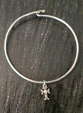 Girls Sterling Silver 925 Bracelet Thin Bangle Tiny Cross Charm Jewelry 1990's