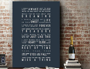 Aerosmith Don't Want to Miss A Thing | Wall Art Song Lyrics | Print or Canvas