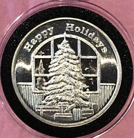 Happy Holidays Merry Christmas Tree 1 Troy Oz .999 Fine Silver Round Coin Medal