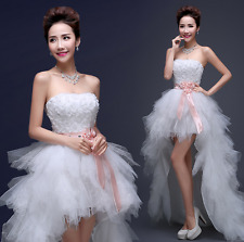Women Off Shoulder Lace Slim Fit Tail Bride Wedding White Sleeveless Dress Party