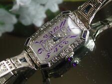 Ladies Art Deco 18K Sapphire & Diamond Abra Watch ~ Sapphire Filigree Band