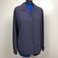 Laura Scott Women's Size 24W Purple/Black Long Sleeve Button Down 100% Polyester