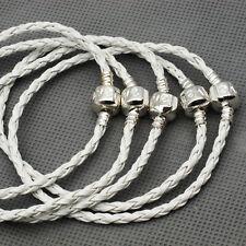 Wholesale lot 10Pcs White Leather Charm Bracelets Fit European Pendant Beads LF3