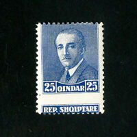 Albania Stamps 25 Qindar Blue Error Dramatic Shift