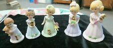 "Set of 5 Enesco ""Growing Up"" Blonde Birthday Girls, ages 1-5 Y-9"