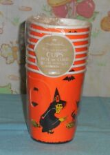 vintage HALLOWEEN PAPER CUPS with handles by Hallmark with witches