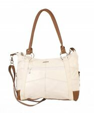 WOMEN'S NEW FASHION REAL COW HIDE LEATHER LORENZ HANDBAG SHOULDER BAG WHITE-TAN