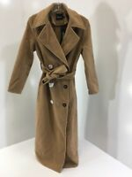 BOOHOO WOMENS BROOKE DOUBLE BREASTED WOOL LOOK ROBE DUSTER CAMEL SMALL NWT