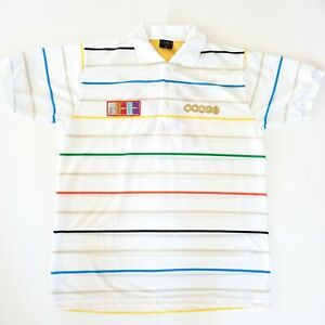 Coogi Men's Size 1X Rainbow Striped White Short Sleeve T-Shirt Eagle Embroidery