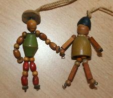 2 Old Vintage Wooden Bead Dolls Baby Crib Doll decoration