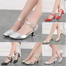 Women Party Ballroom Latin Salsa Samba Tango Waltz Dance Soft Ankle Strap Shoes