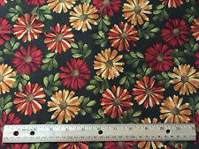 Fabric Traditions 42 x 36 cotton yardage Floral fall colors gold red   F140