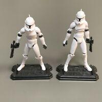 2PCS Star Wars The Clone Wars No. 5 Clone Trooper w/ Base 3.75'' Figure Kid Toys