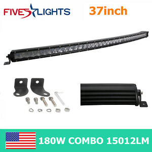 37inch Curved LED Light Bar 180W Offroad Slim Single Row Combo offroad RZR 38/40