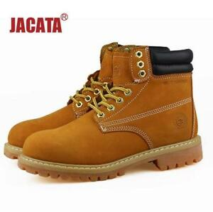 Men's Winter Snow Boots Work Boots Waterproof Rubber Wheat Black Leather 8601
