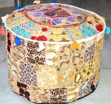 Indian Comfortable Floor Cotton Foot Stool Handmade Patchwork Ottoman Pouf Cover