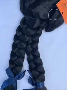 Black Braided Pigtails COSPLAY Long Trendy Wednesday Wig Lacey Costume B921Y(V.1