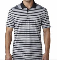 Adidas Golf Polo Mens Small New Gray Black Striped Short Sleeve Collared Shirt