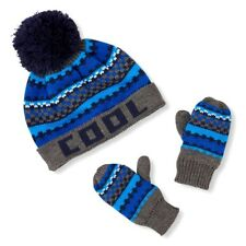 5966fef7a00 THE CHILDREN S PLACE BOY GIRL 2PC COOL FAIR ISLE HAT MITTENS KNIT SET XS 6