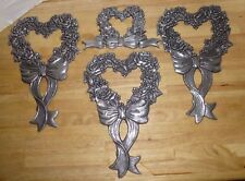 Carson Freeport PA Lot 4 Wall Hangings Flowers Hearts Ribbons Metal Pewter