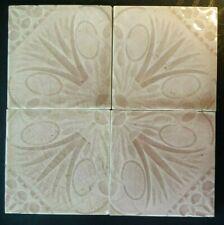4 Matching Antique Trent Tiles Eastlake Design Trenton Nj Lotus Flowers