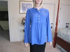 Michael Kors Blue Henley Blouse W/ Roll Tab Sleeves Size PL