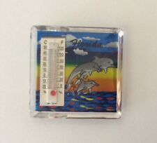 Florida Dolphins Ocean View Acrylic Rectangle Thermometer Fridge Magnet