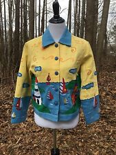 EXC!!! Blue Bayou Boat Lighthouse Womens Lined Jacket 100% Cotton Sun