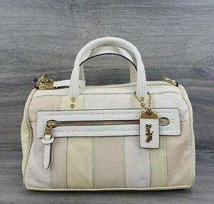 Coach Satchel Soft Colorblock Leather Large Shuffle Handbag 69141 (Ivory Multi)