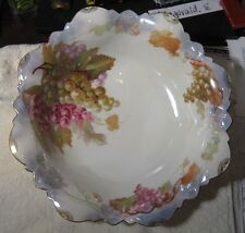 "M & Z Austria 11"" x 3"" Deep Serving Bowl Painted w Grapes & Gold Trim Numbered"
