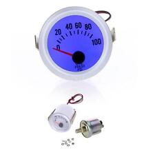 "Silver 2"" 52mm Car Oil Pressure Gauge Meter with Sensor 0~100PSI Blue LED F7F5"