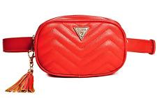 NWT GUESS CHEVRON 2-Way Red Logo BELT BAG & CLUTCH HANDBAG S/M GENUINE