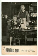 Mervin Williams William Ingle Come Back Little Seba Opening Night 1952 Playbill