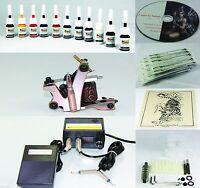Complete Tattoo Kit Machine Gun 11 Color Inks Needles Power Supply T1