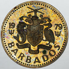 1979 BARBADOS 25 CENTS BEAUTIFUL TONED COLORING UNC BU PRIME APPEAL (MR)
