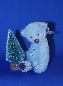 "DEB CANHAM  ""TIMBURR TEDDY""  LIGHT BLUE MOHAIR MINIATURE TEDDY  3 3/4"" WITH TREE"
