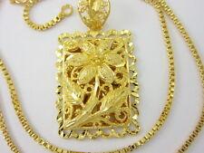 """GORGEOUS 20"""" Chain & Flower Detail Pendant 22K 24K Gold GP Thai Necklace GT23"""