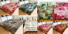 10 PC Lot Wholesale Indian Silk Patchwork Kantha Quilt Queen Bedspread Blanket