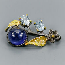 Vintage Natural Blue Sapphire 925 Sterling Silver Brooch /NB07017