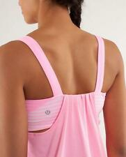 LULULEMON~PINK SHELL/ CLASSIC STRIPE *RUN BACK ON TRACK TANK* ATTACHED BRA TOP~6