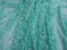 "Aqua Green 100% Polyester Floral Lace/Net Fabric  58"" Wide By The Yard"