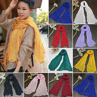 Women Cotton Linen Long Voile Wrap Scarf Shawl Solid Stole Pashmina Yarn Scarves